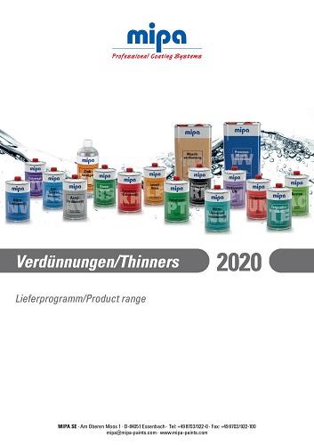 Mipa Verdünnungen Lieferprogramm 2020